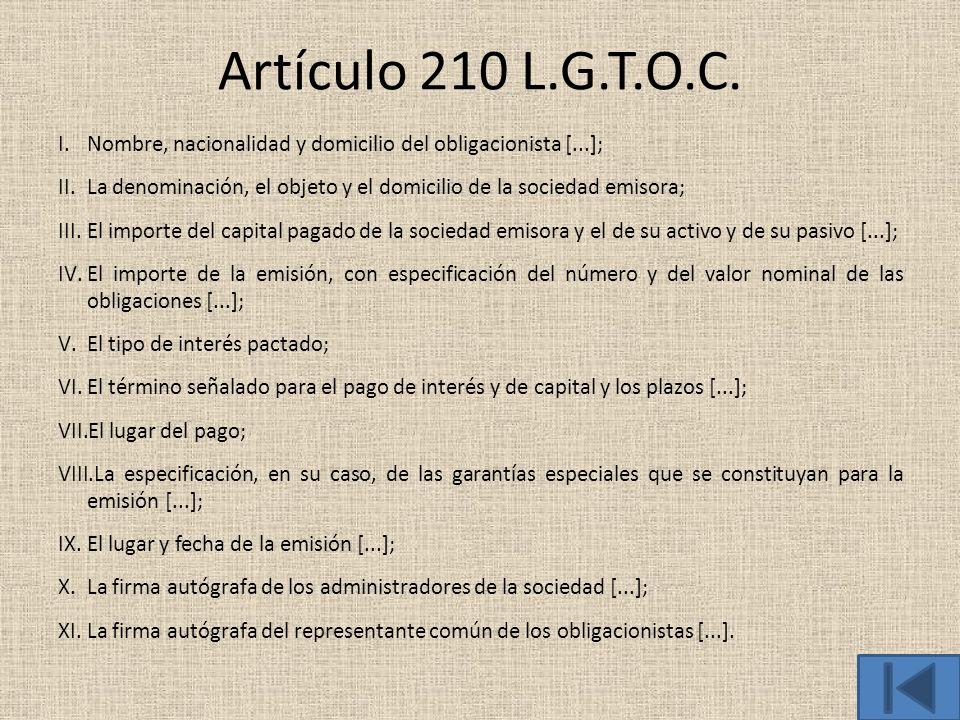 Artículo 210 L.G.T.O.C. Nombre, nacionalidad y domicilio del obligacionista [...]; La denominación, el objeto y el domicilio de la sociedad emisora;